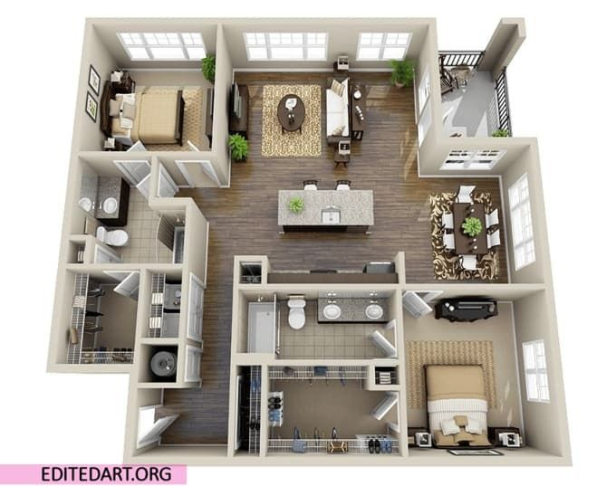 Render Your 3d Model In 3d Max Vray Apartment Floor Plans House Plans Small House Plans