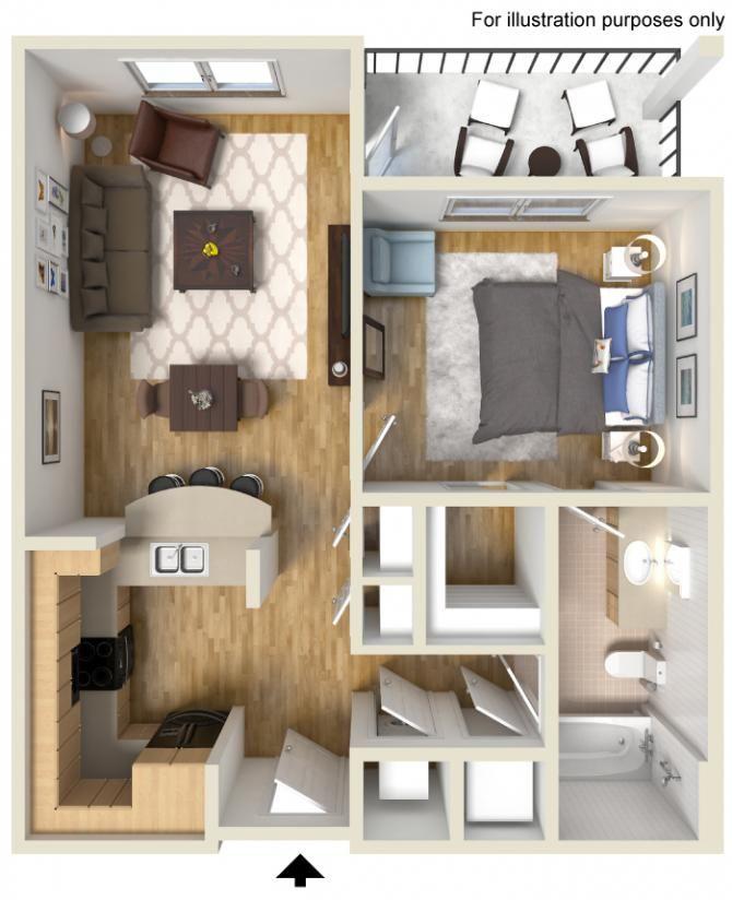 1 Bedroom 1 Bathroom 656 Sq Ft Small Space Design Apartment Communities Floor Plans