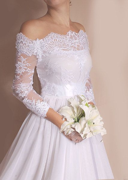 1a59b4d2372 Plus Size lace cover up Off-Shoulder wedding bolero custom made