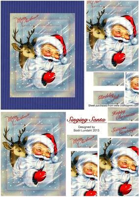 Singing Santa on Craftsuprint designed by Bodil Lundahl - Isn't he cute