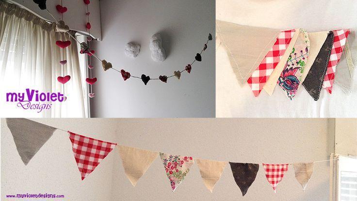 Guirnaldas de corazones y banderines combinadas :D My Violet myvioletdesigns.com
