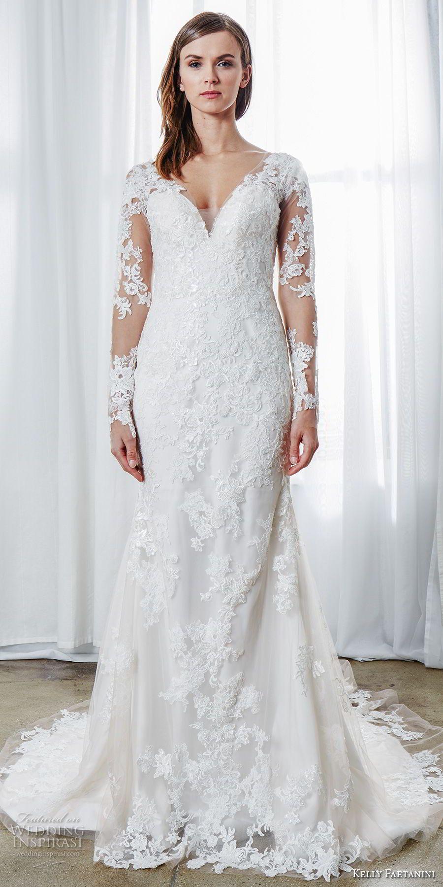 Long sleeve v neck wedding dress  Kelly Faetanini Spring  Wedding Dresses in    Latest