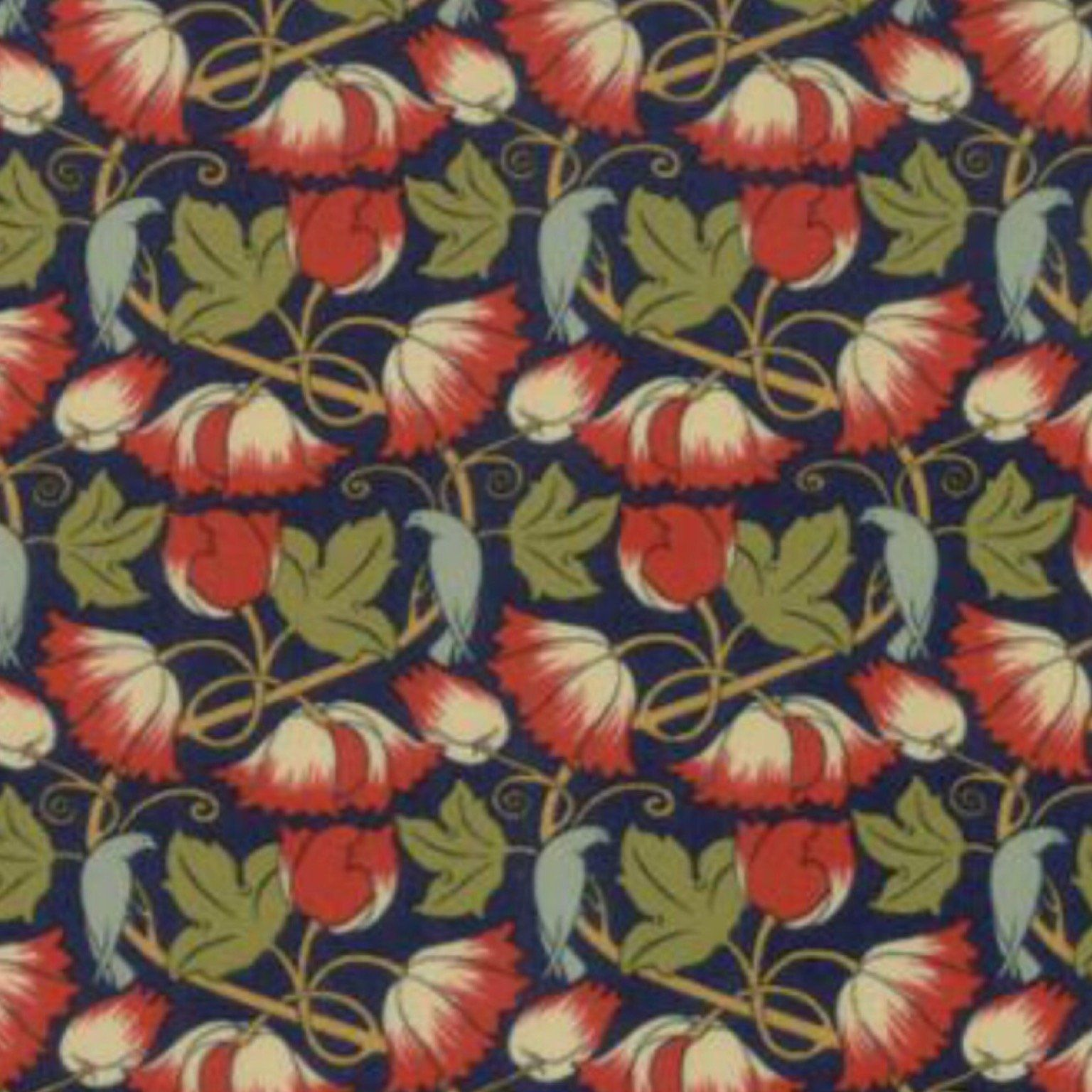 Voysey Dark Blue Perching Birds Floral Fabric by V & A - Moda Fabrics #birdfabric
