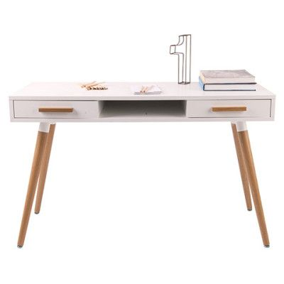 Hyatt Work Desk with 2 Drawers & Storage Shelf - 18mm MDF Wood with Matte Gloss Finish & American White Oak Wood Legs - Scandinavian Style Furniture for Home or Office - White