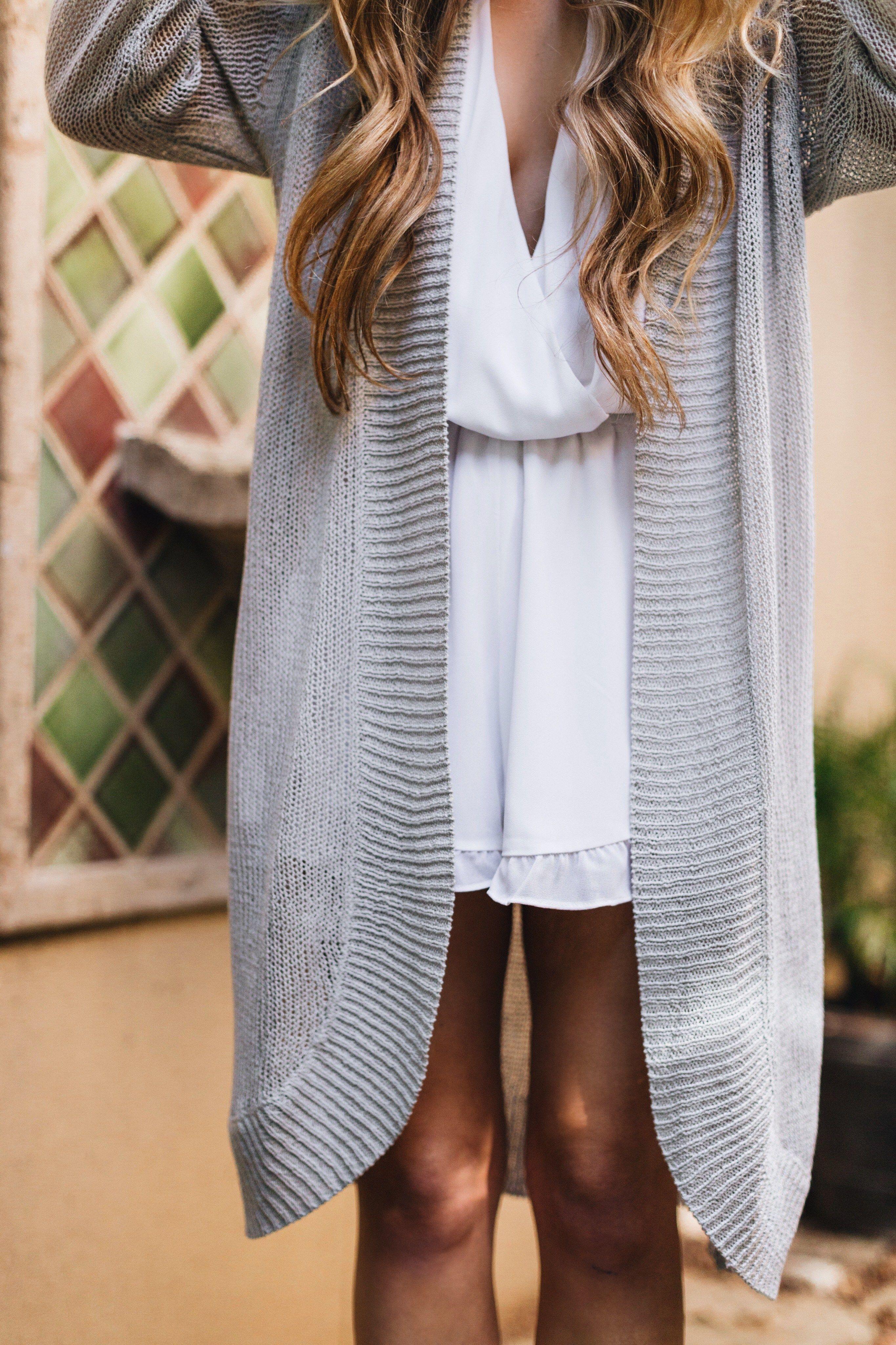 White Ruffle Romper Gray Bull Cardigan Summer Dress Inspiration Fashion Style [ 4096 x 2730 Pixel ]