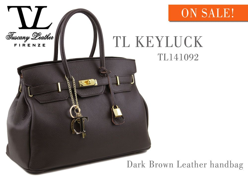 TL KEYLUCK TL141092 Leather handbag with golden hardware  http://www.tuscanyleather.it/en/p/leather-handbags/tl-bag-leather-handbag-with-golden-hardware-dark-brown  #tuscanyleather