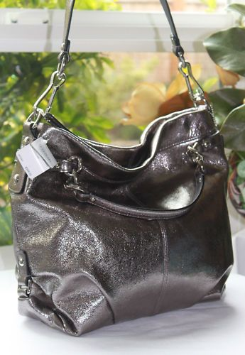 Coach Brooke Pewter Silver Leather Hobo Purse Bag New
