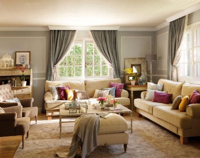 ideen wohnzimmer landhausstil beige sofas hellgraue wandfarbe