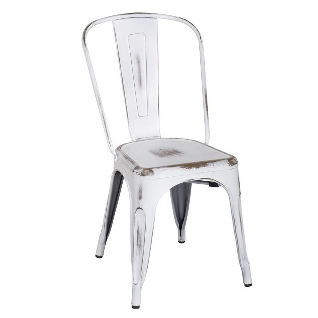 White Distressed Metal Dining Chairs. Industrial Farmhouse Furniture For  Less.