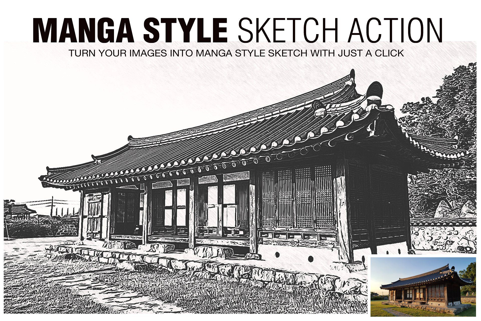 Manga Style Sketch Effects Vintage actions