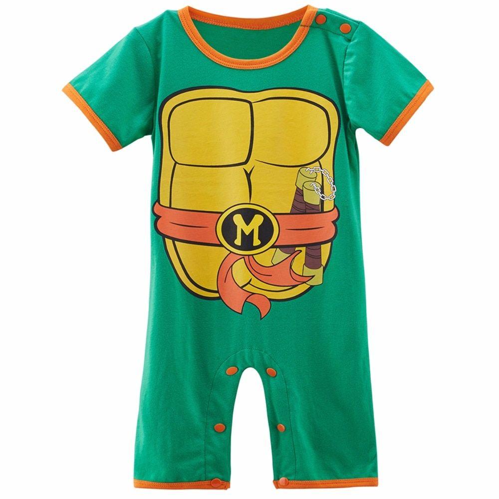6e63224415fb Baby Boy Ninja Turtle Costume Romper Infant Teenage Mutant Funny ...