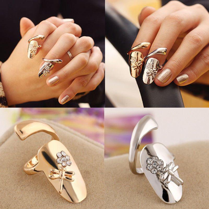 Fashion Womens Dragonfly Flower Design Jewelry Rhinestone Finger Tip Nail Ring #UnbrandedGenenic #FingerTipNailRing