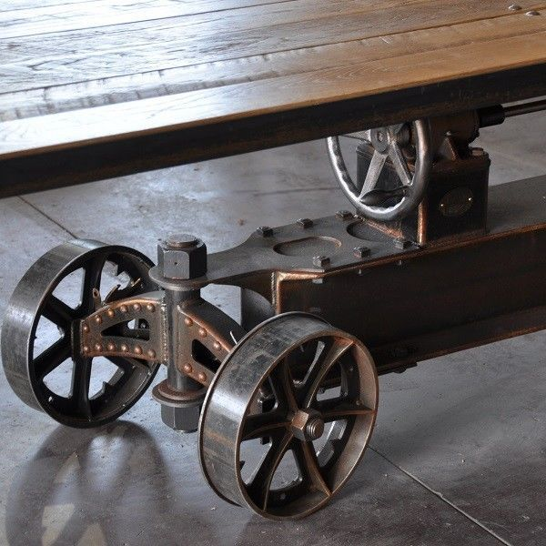 Vintage Industrial Train Crank Table Rustic Chic Dining