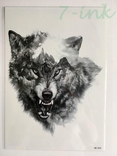 4fea9a8ee529f 16 design Waterproof Temporary Tattoo Sticker forest wolf Water Transfer Fake  Tattoo Flash Tatoos Large Size For Man Women