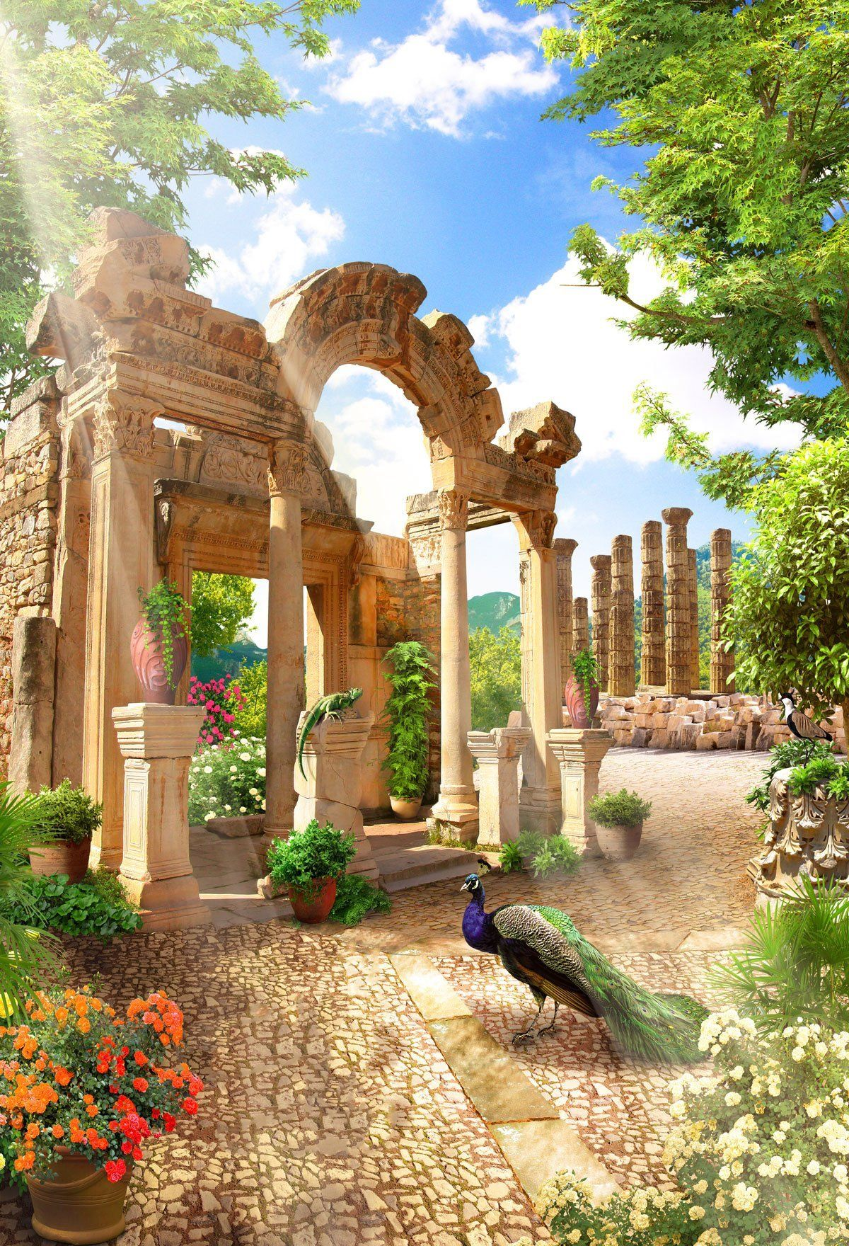 Medieval Garden Design Beautiful Flowers And Animals ...