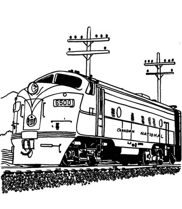 Streamlined Diesel Engine Train On Railroad Coloring Page Color Luna Train Coloring Pages Coloring Pages Train Drawing