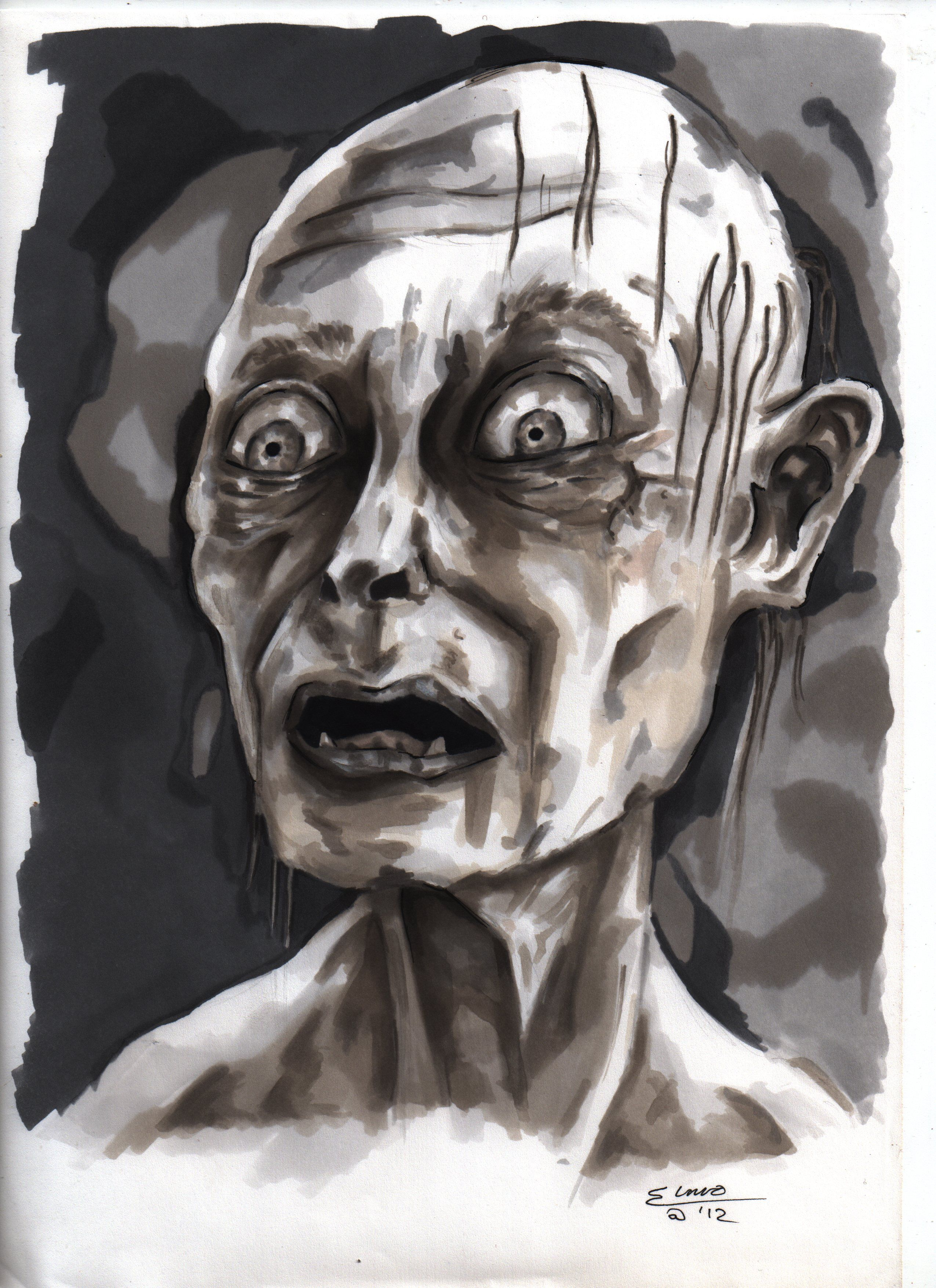 Gollum in brushed ink and wax pencil SOLD