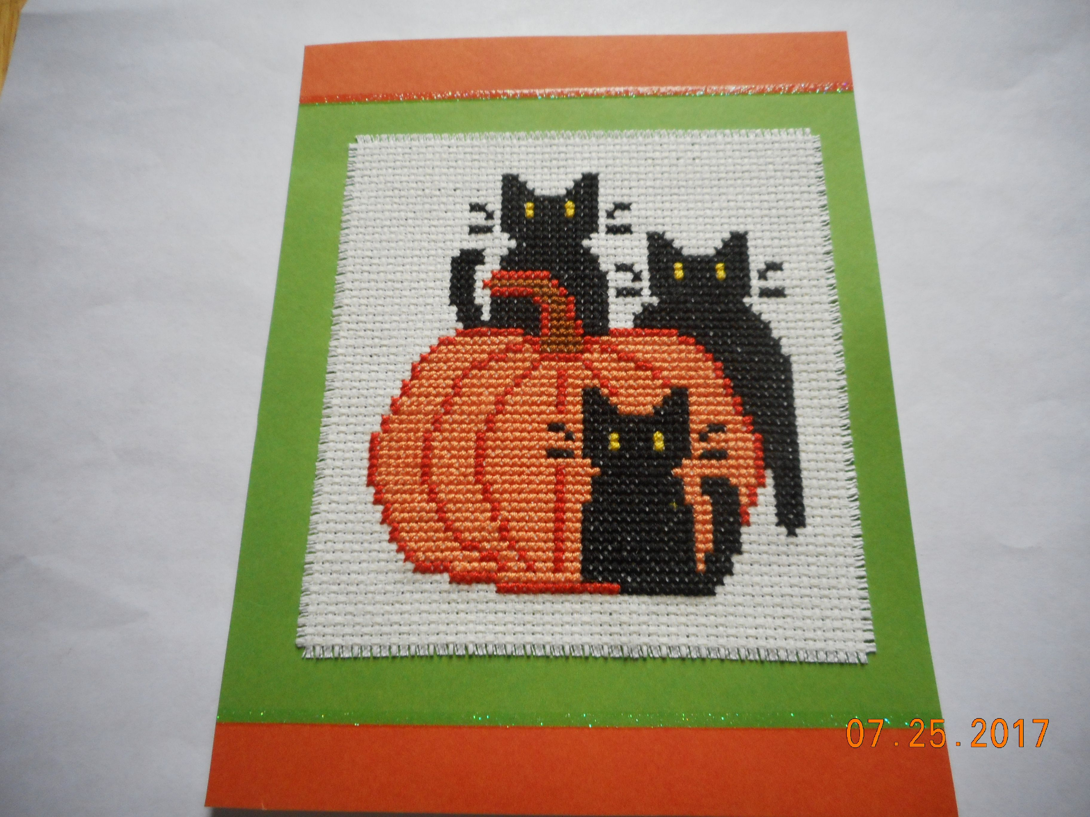 halloween card etsy shop debbywebbyscards cross stitch card