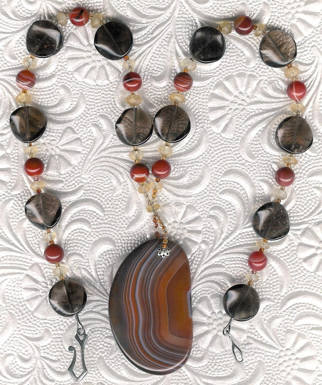 Topaz Citrine Picture Agate /& Sterling Silver Pendant on Sterling Silver Beads Smoky Quartz