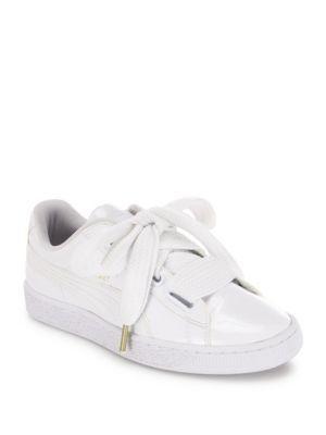 PUMA Basket Heart Faux Patent Leather Sneakers. #puma #shoes