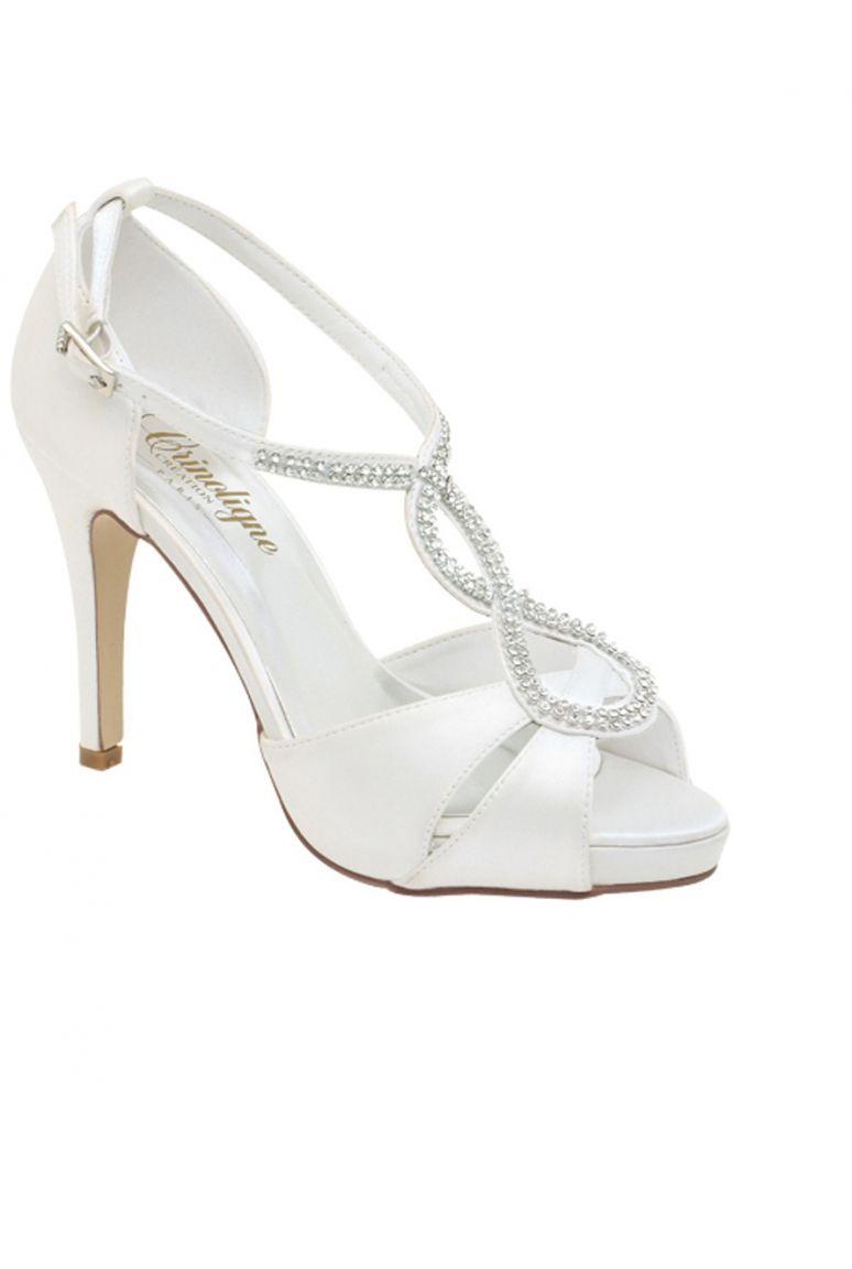 6b0e4b7cb59b46 Chaussures de style Salomé avec lanières décorées de strass pour Mariage