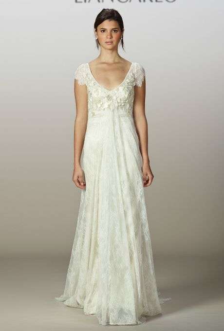 Style 5845 Chantilly Lace Cap Sleeve Sheath Wedding Dress