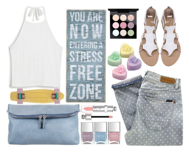 """""""Sresss Free Zone"""" by juliehalloran ❤ liked on Polyvore featuring Paul by Paul Smith, Monki, Burberry, Nails Inc., MAC Cosmetics and Christian Dior"""