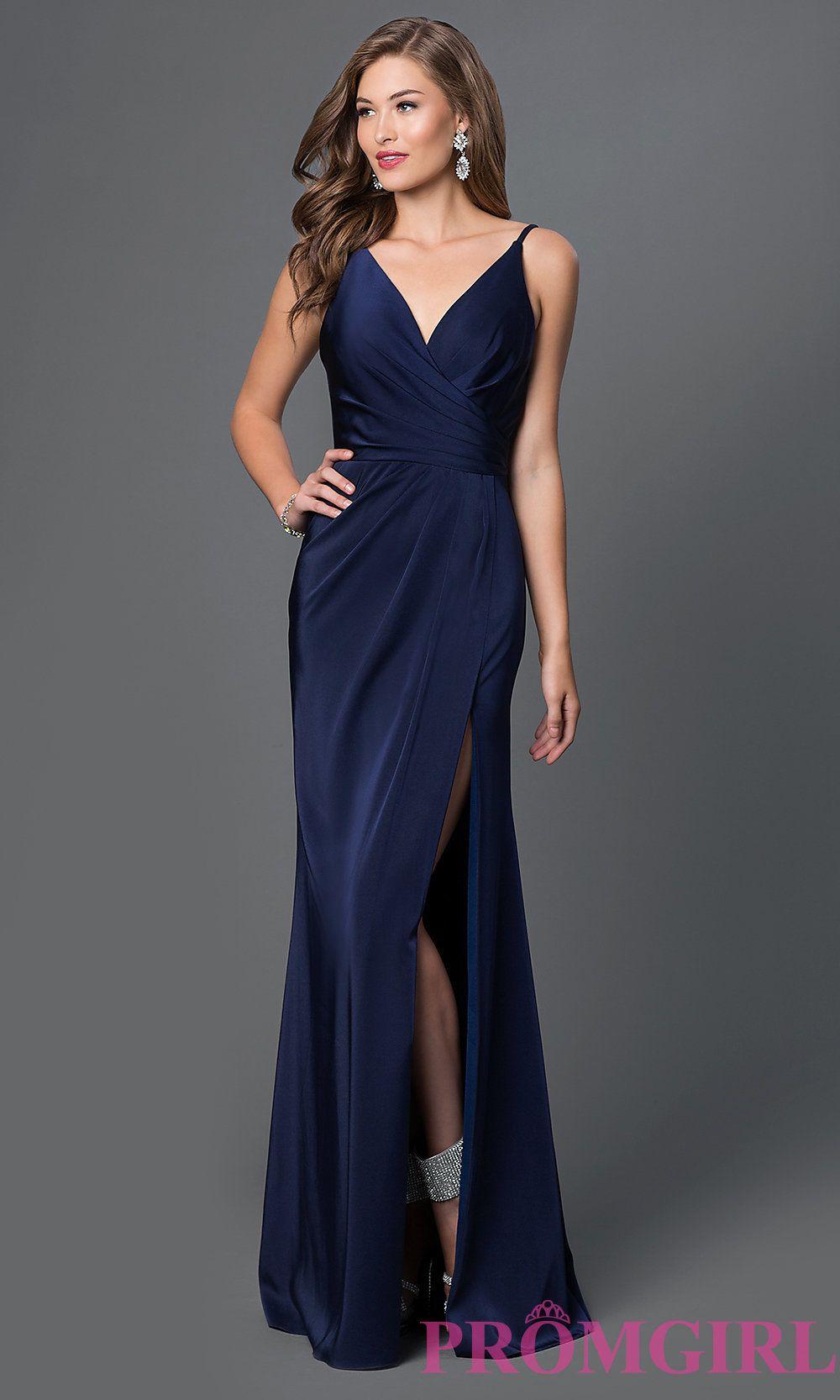 f553d97d4e6 Image of floor length v-neck side slit ruched back dress Style  FA-7755  Front Image