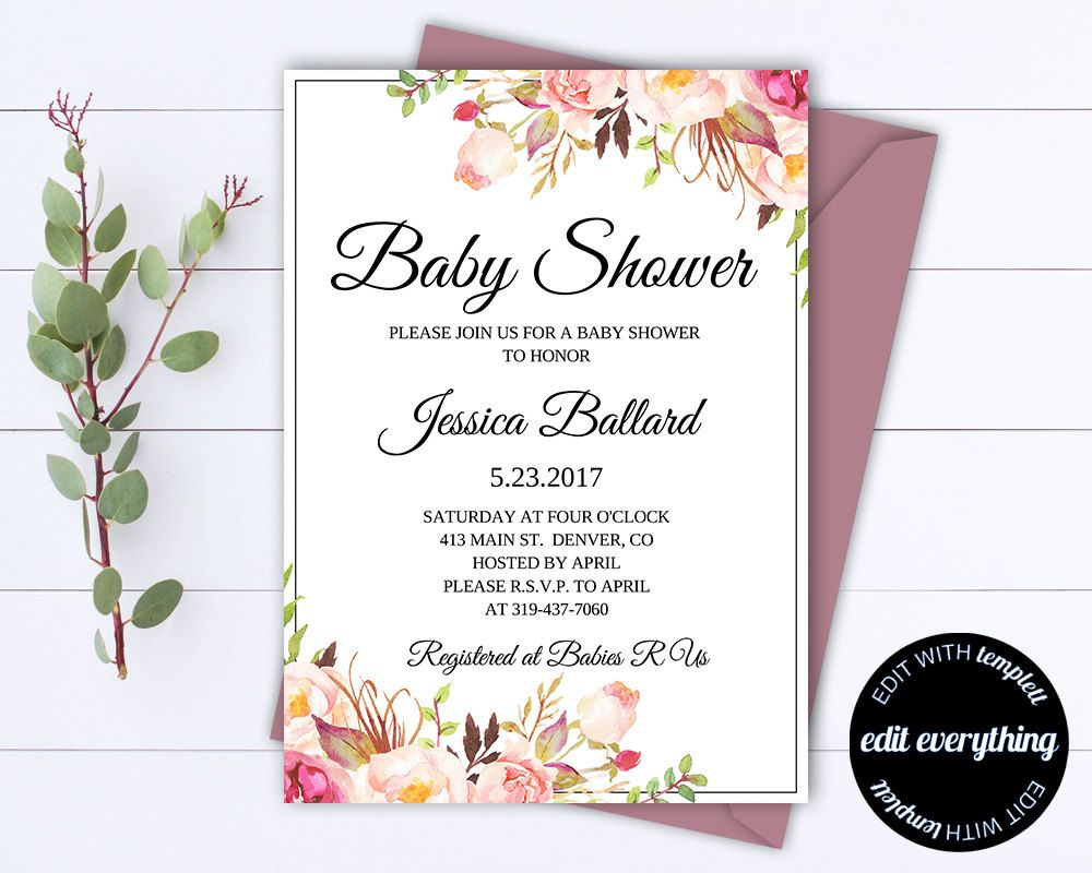 Floral Baby Shower Invitation Template Floral Baby Shower - Baby shower invitations templates editable girl