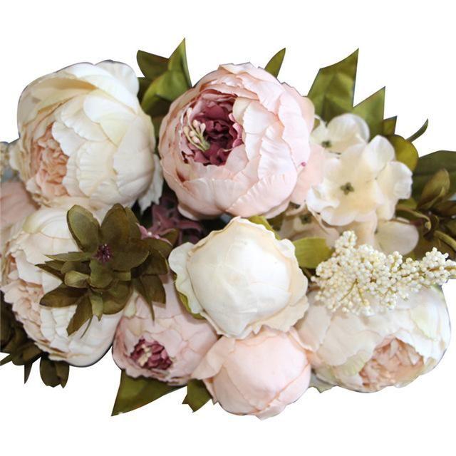 European Style Luxe Silk Peony Flower Bunch Fake Flowers Wedding Fake Flowers Artificial Flowers