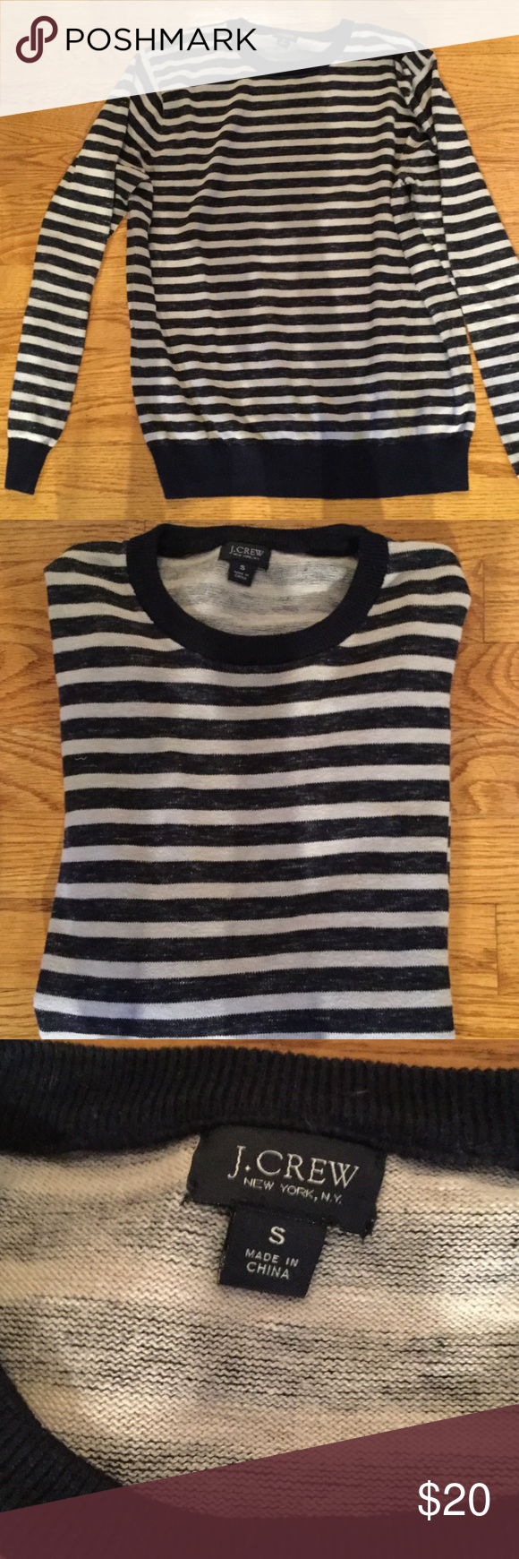 Top 100% cotton, sweatshirt, almost like a sweater. Beautiful. Black and Tan stripe with solid black cuffs. Excellent condition J. Crew Tops Sweatshirts & Hoodies