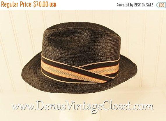 e53e7e8ac 50% OFF SALE Vintage Men's Fedora Milan Straw Hat Stevens Mad Men ...