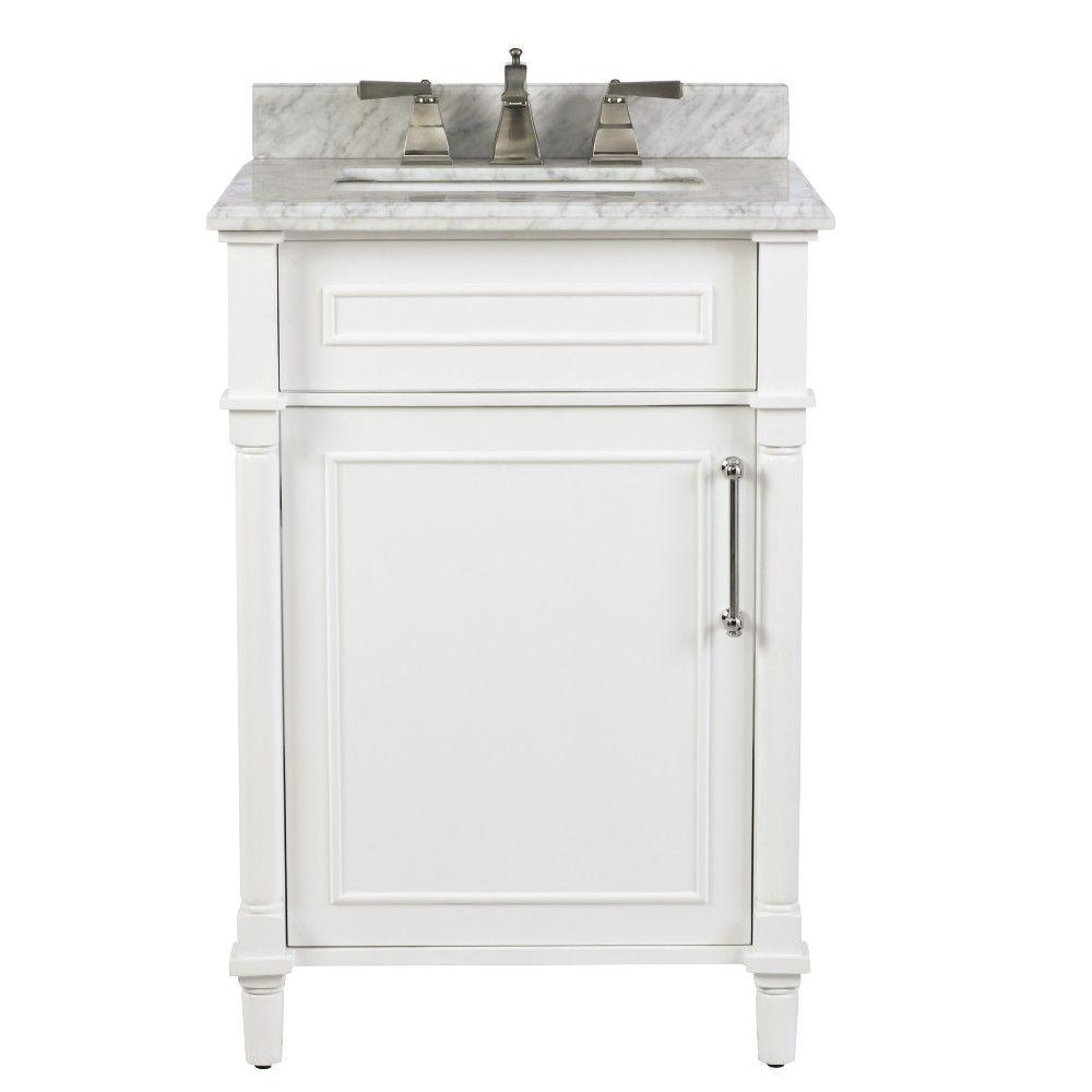 Home Decorators Collection Aberdeen 24 In W X 20 In D Bath Vanity In White With Carrara Marble Top With White Sink 8103200410 24 Inch Bathroom Vanity Marble Vanity Tops Bath Vanities