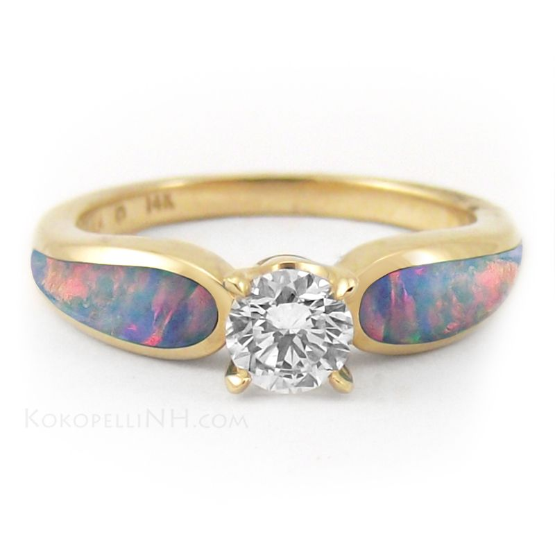 Sunlit Sea Radiance 5ct Diamond and Opal Engagement Ring