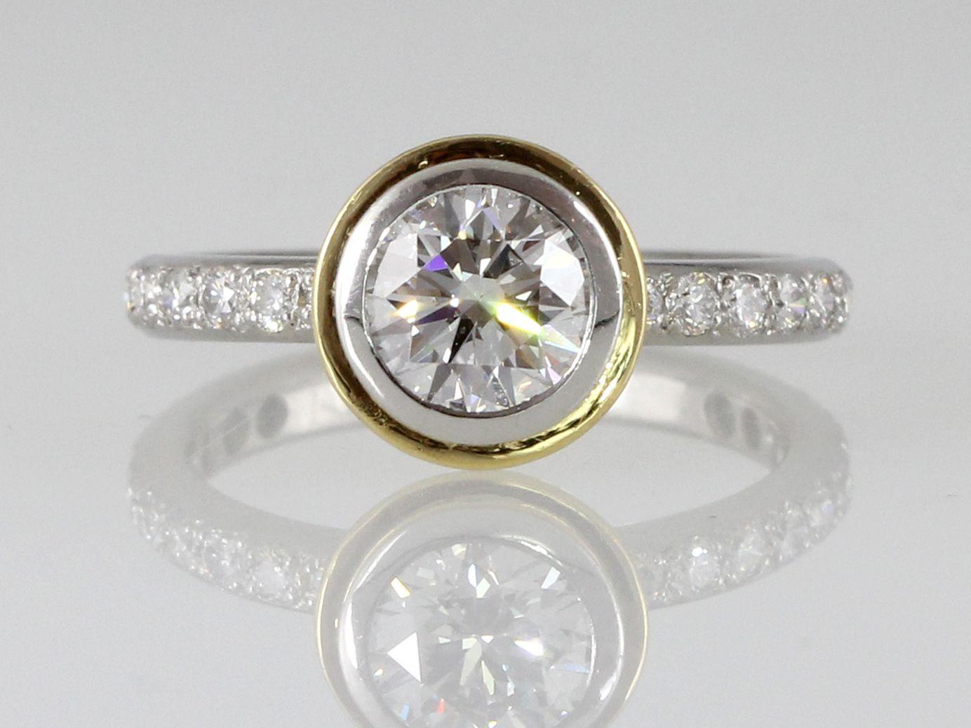 Platinum & Gold double bezel diamond engagement ring.  Handmade at Union Street Goldsmith, San Francisco