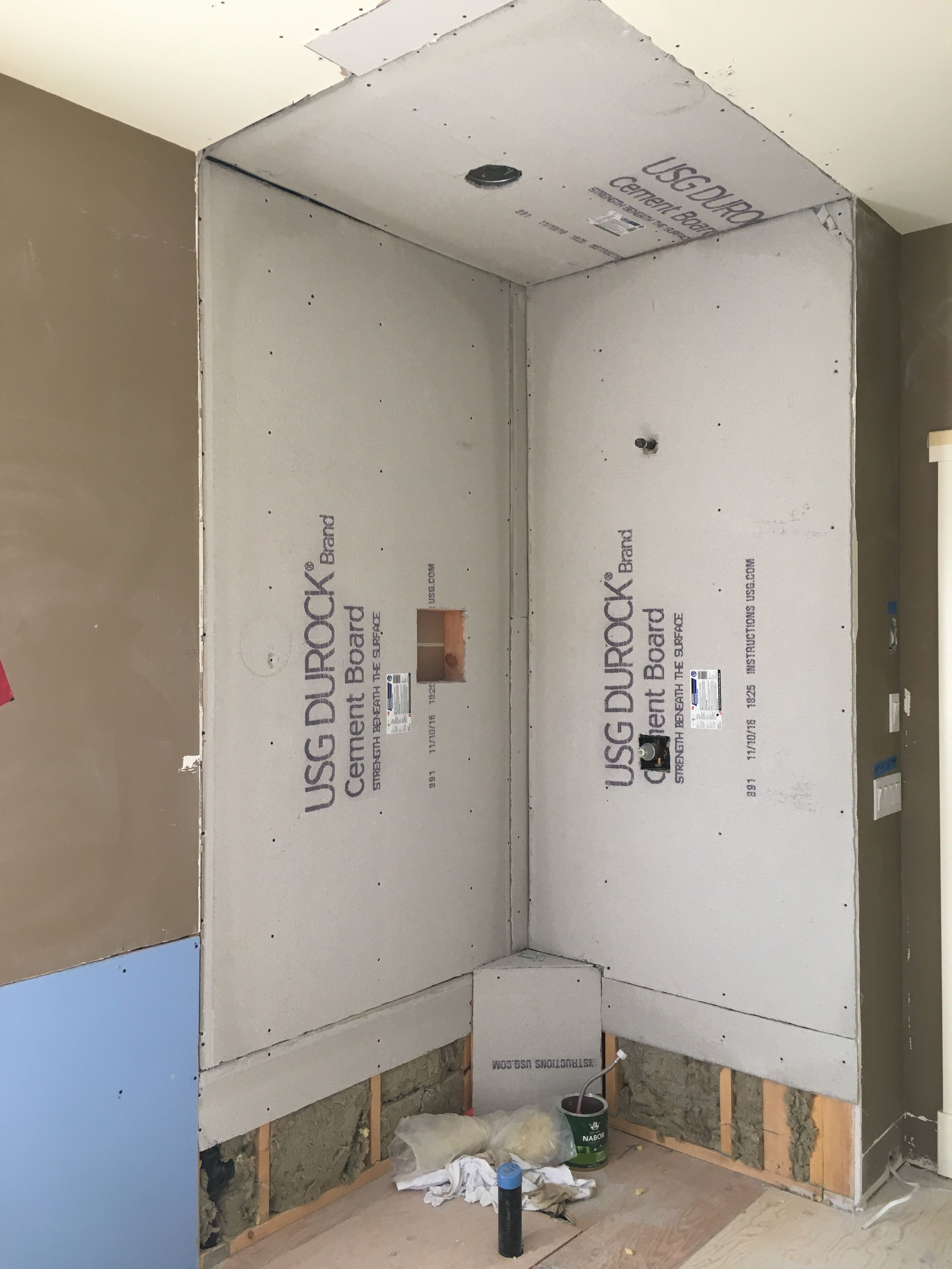 Installed Usg Durock Cement Board Where The Shower Will Be Built