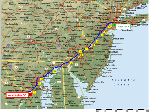 Northeast Corridor Route Atlas Rail Passenger USA Train Travel - Map of passenger train routes in usa