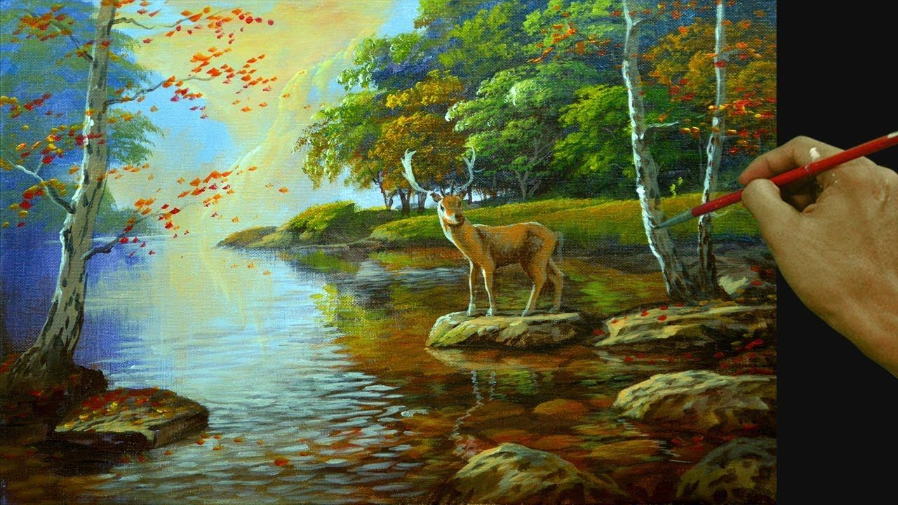 How To Paint Realistic Landscape With Shallow River And Deer In Acrylic Youtube Landscape Painting Lesson Landscape Paintings Oil Painting Landscape