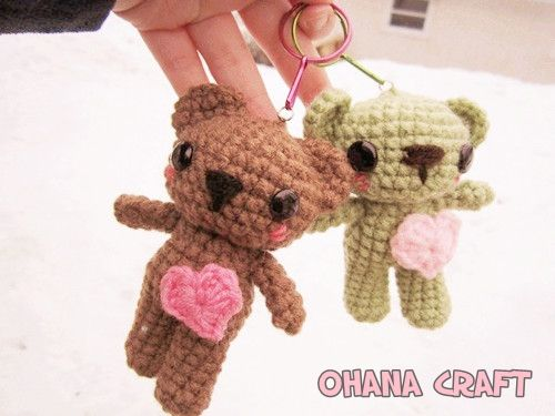 Crochet Amigurumi Keychain Free Pattern : Tiny teddy crochet pattern watch the video tutorial ohana teddy