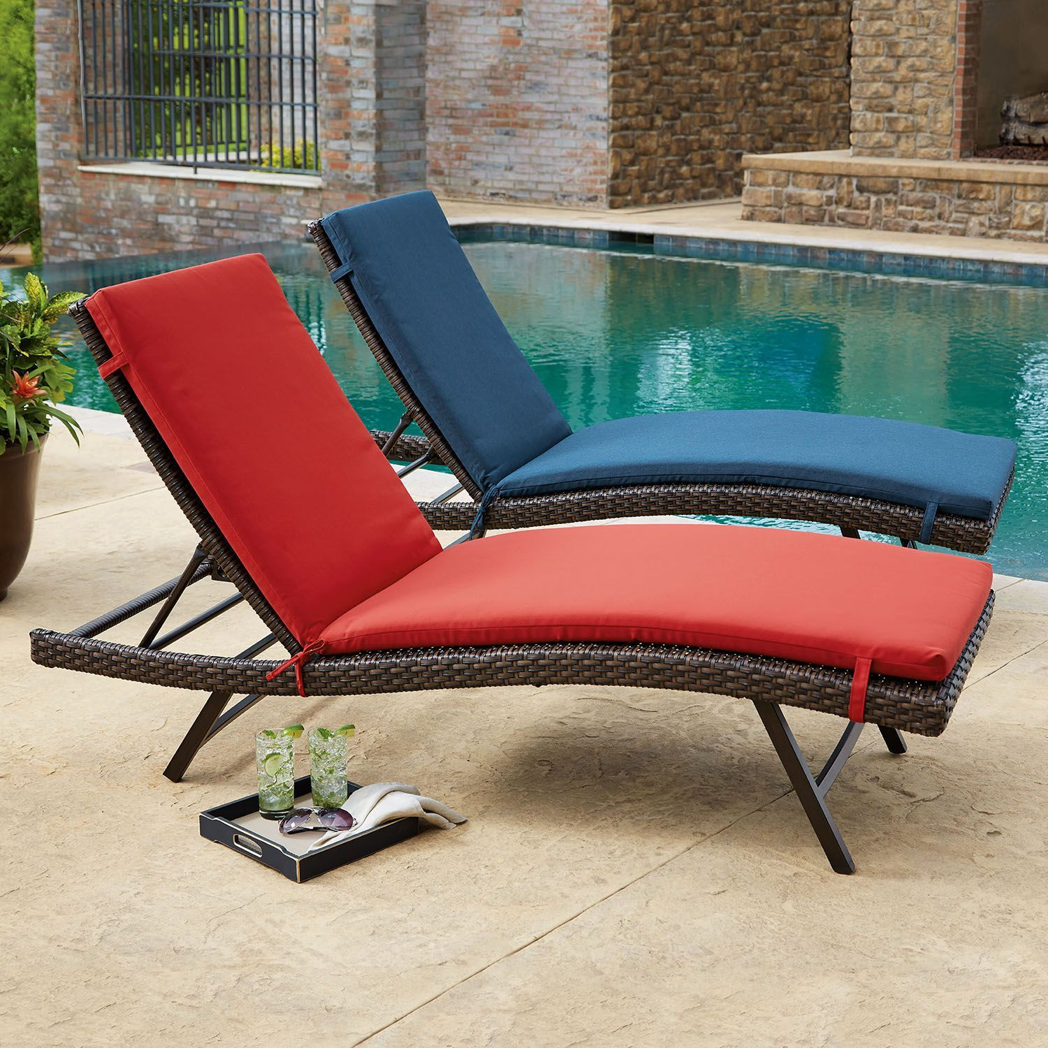 Member S Mark 2 Pk Chaise Lounge Cushions In Assorted Colors Chaise Cushions Chaise Lounge Cushions Patio Furniture Covers