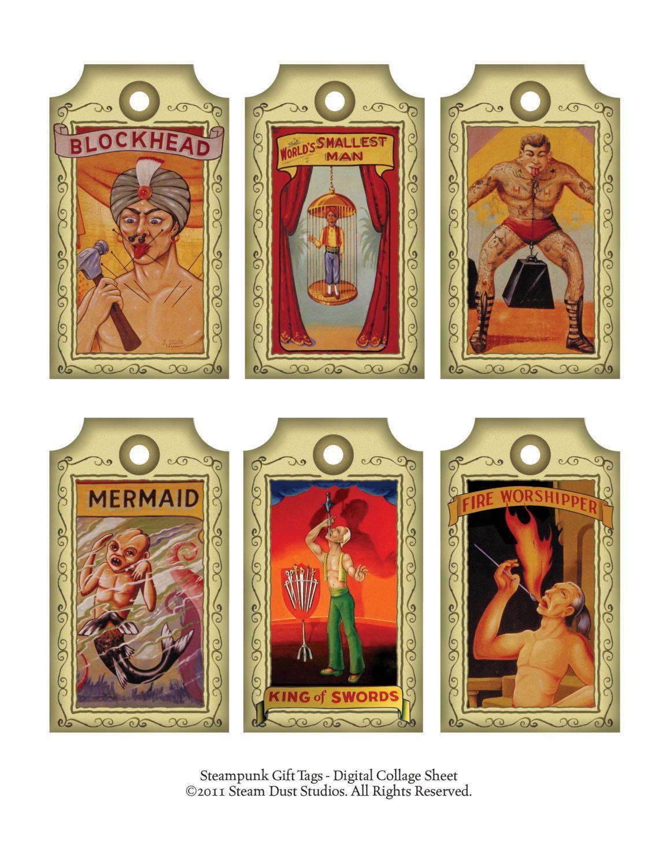 Vintage Circus Freaks Blockhead Tattoed Man by steamduststudios