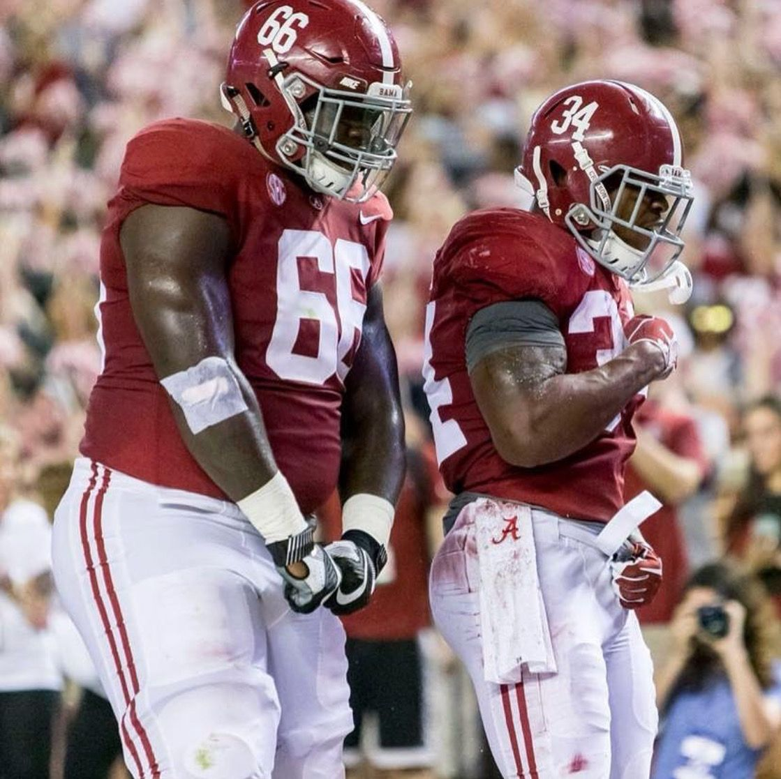Damien Harris And His Bodyguard Lester Cotton Alabama 41 Arkansas 9 Alabama Rolltide Bama B Crimson Tide Football Alabama Football Alabama Crimson Tide