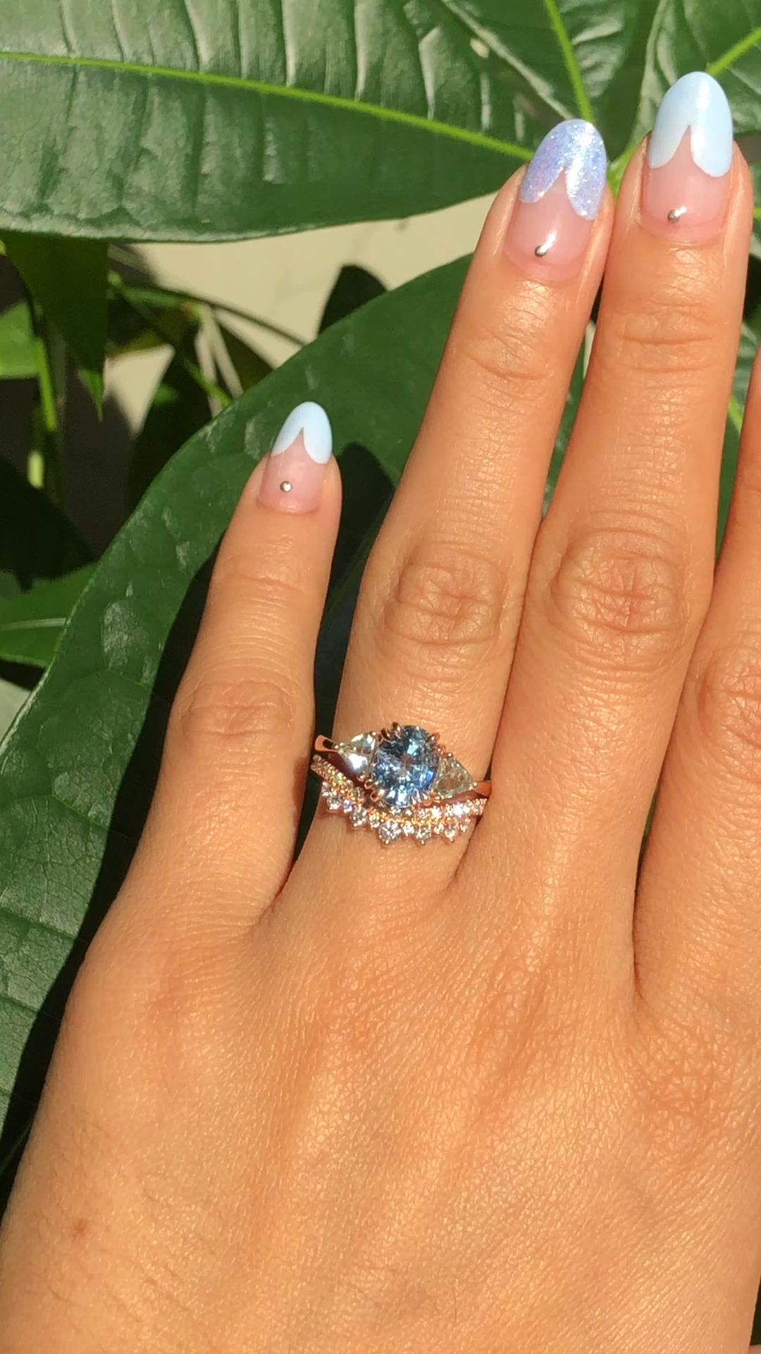 OOAK 3 Stone Bridal Ring Set by La More Design