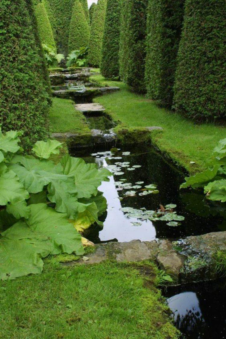 Gartenteich Bilder kreative Gartengestaltung Hecke Gartenkunst