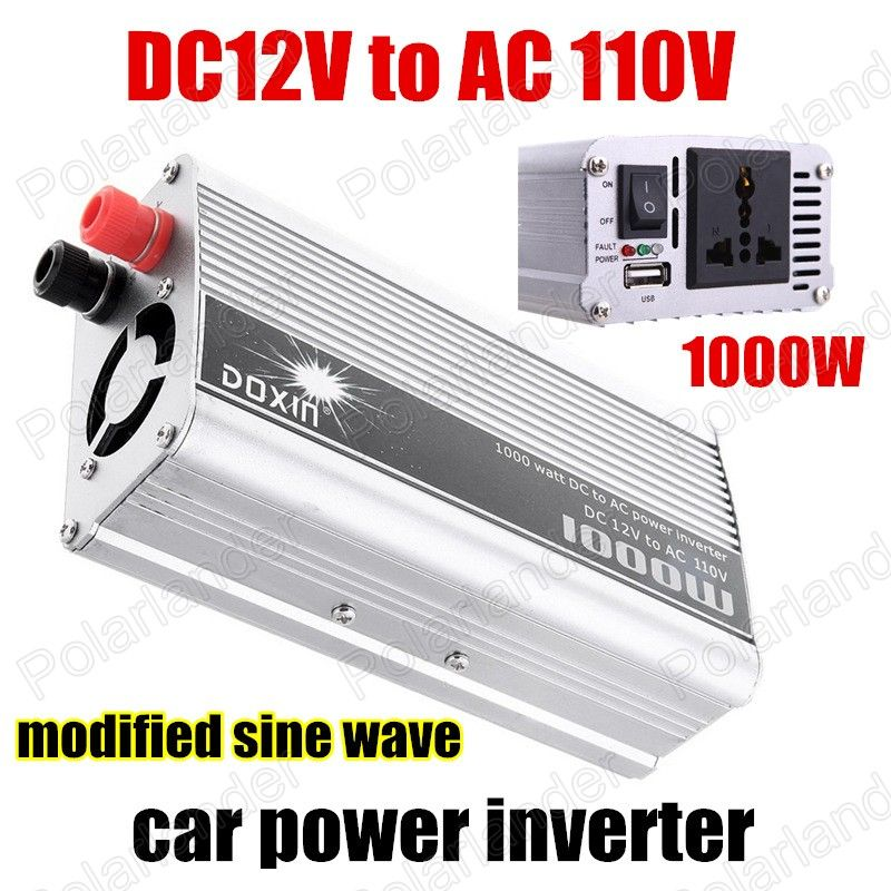 Wholesale 1000W DC 12V to AC110V USB Voltage Transformer Car Power Inverter Car Charger Modified Sine Wave