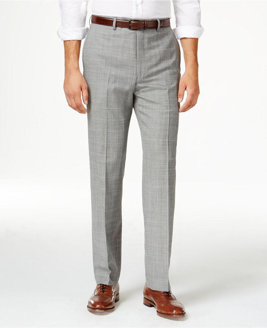 Lauren Ralph Lauren Men's Wool Windowpane Flat Front Classic-Fit Dress Pants  - Pants -
