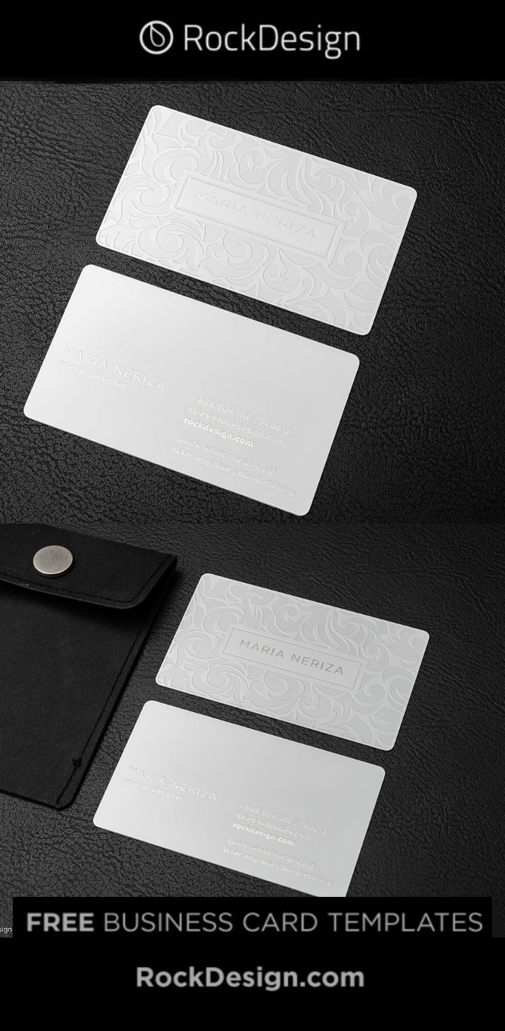 Elegant Laser Engraved White Metal Business Card Template Design Maria Neriza Business Card Template Design Metal Business Cards Business Card Template