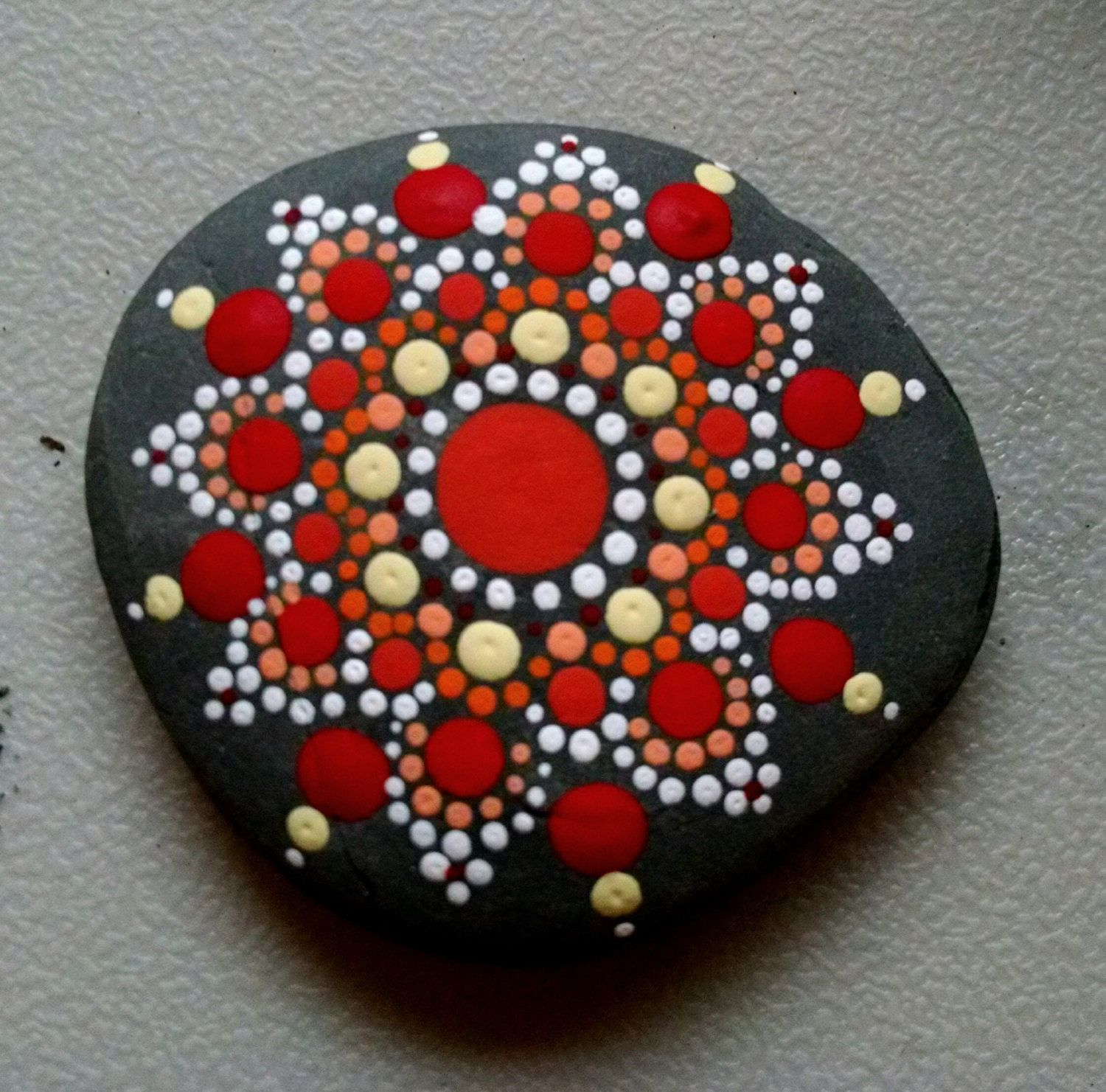 Beach Pebble Art ~ Hand Painted by Miranda Pitrone~ Coral &Tangerine Flower Mandala ~ Dot art, Fairy Garden Stones by P4MirandaPitrone on Etsy