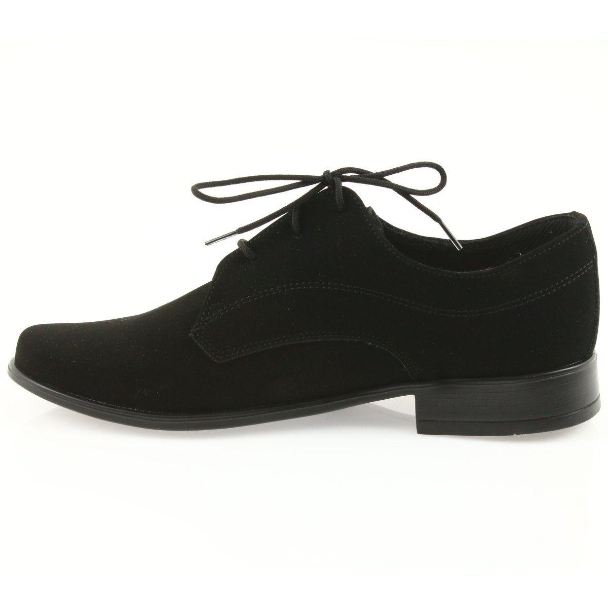 Miko Polbuty Dzieciece Zamszowe Buty Komunijne Czarne Chukka Boots Oxford Shoes Boots
