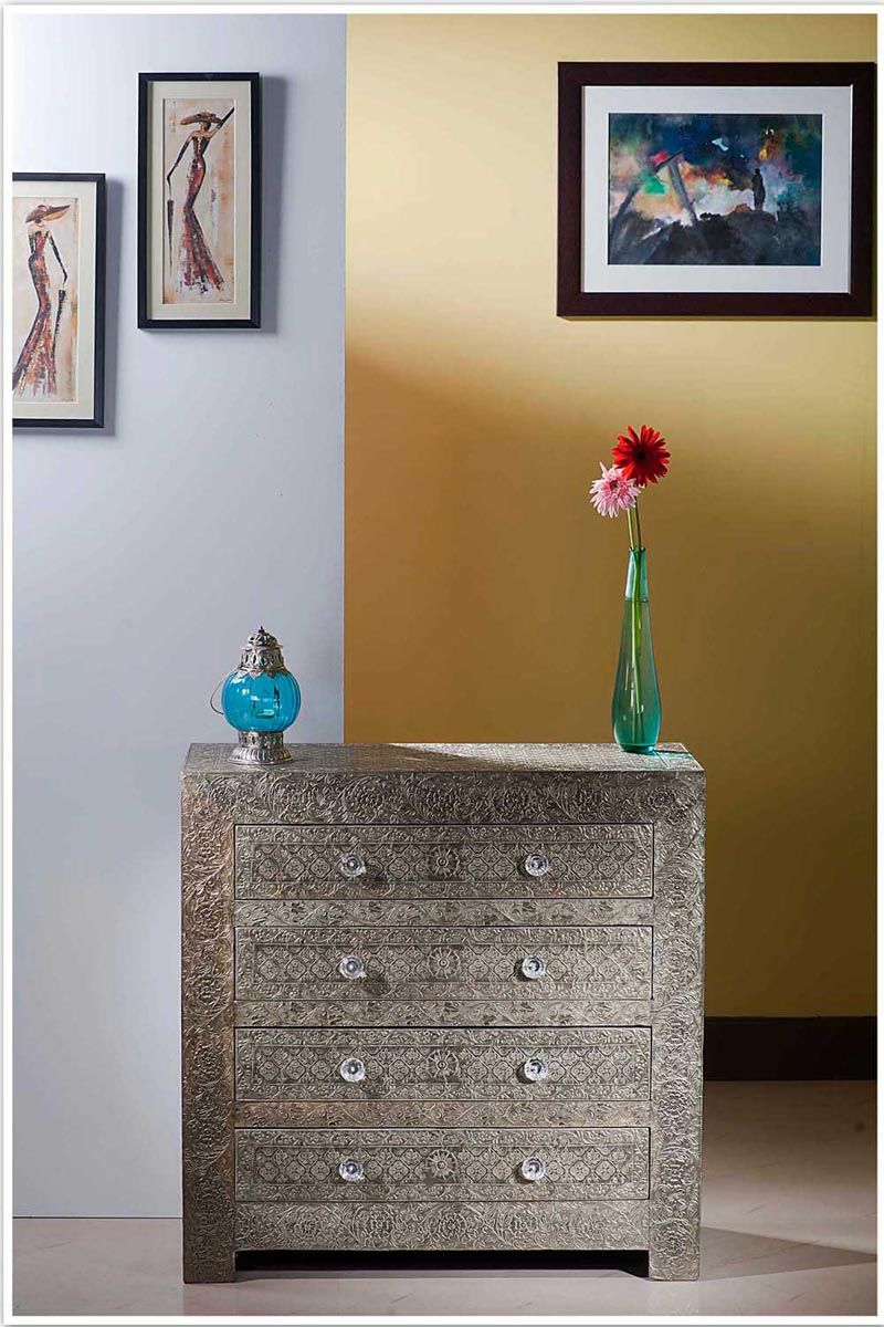 Buy Quality Furniture @ BoneInlayInteriorFurniture Store Embossed White  Metal Chest Of Drawer Sideboard